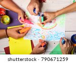 artists wooden table with...   Shutterstock . vector #790671259