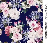 seamless floral pattern with... | Shutterstock .eps vector #790676164