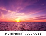 glowing paradise sunset over... | Shutterstock . vector #790677361