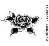black rose dot work | Shutterstock .eps vector #790680481