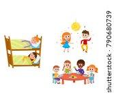 vector summer camp kids set.... | Shutterstock .eps vector #790680739