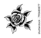 rose tattoo dot work | Shutterstock .eps vector #790680877