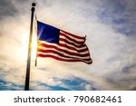 united states flag blowing in... | Shutterstock . vector #790682461