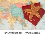 travel concept on map... | Shutterstock . vector #790682881