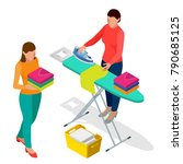 isometric woman ironing clothes ... | Shutterstock .eps vector #790685125