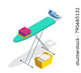 isometric iron  ironing board... | Shutterstock .eps vector #790685131