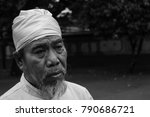 an old hindu man in lombok ... | Shutterstock . vector #790686721
