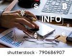 businessman presses button info ... | Shutterstock . vector #790686907