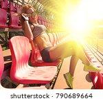 sporty girl in dark glasses...   Shutterstock . vector #790689664