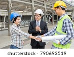 engineers are shaking hands... | Shutterstock . vector #790693519
