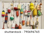 colorful buoys hanged on wooden ...   Shutterstock . vector #790696765