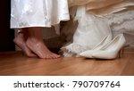 wedding preparation close feet... | Shutterstock . vector #790709764