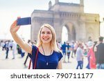 happy woman taking selfie in... | Shutterstock . vector #790711177