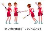lacrosse female player vector