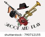 vector tommy gun  trumpet and...   Shutterstock .eps vector #790712155
