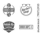 set of vintage barber shop logo ... | Shutterstock .eps vector #790712935