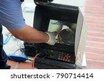 plumbers sewer snake camera. a... | Shutterstock . vector #790714414