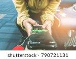 close up traveler using... | Shutterstock . vector #790721131