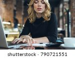 Business Woman Behind Laptop I...