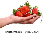 Hand with a large fresh strawberries isolated on white background - stock photo