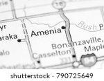 Small photo of Amenia. North Dakota. USA on a map.