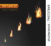 realistic burning fire flame... | Shutterstock .eps vector #790727869