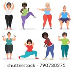 set of cute plus size curved... | Shutterstock .eps vector #790730275