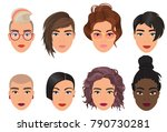 woman female avatar set vector... | Shutterstock .eps vector #790730281