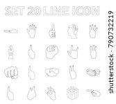 hand gesture outline icons in... | Shutterstock .eps vector #790732219