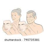 an elderly woman and a man...   Shutterstock .eps vector #790735381