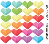 colourfuls paper folding heart... | Shutterstock .eps vector #790738735