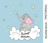 cute little elephant on the... | Shutterstock .eps vector #790739041