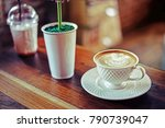 cup of coffee on table in cafe.   Shutterstock . vector #790739047