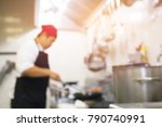 blurred  of chef cooking at the ... | Shutterstock . vector #790740991