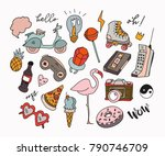 hand drawn various retro... | Shutterstock .eps vector #790746709