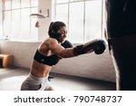 female boxer hitting a huge...   Shutterstock . vector #790748737