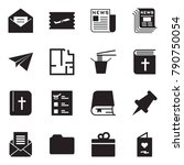 solid black vector icon set  ... | Shutterstock .eps vector #790750054