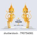 golden statue animal in... | Shutterstock .eps vector #790756081