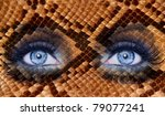 Blue Fashion Makeup Eyes Snake...