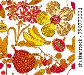exotic fruits on white... | Shutterstock .eps vector #790773331