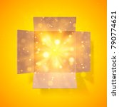 cardboard box with a bright... | Shutterstock .eps vector #790774621