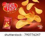 spicy chilli potato chips...   Shutterstock .eps vector #790776247