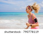 happy fit girl running on the... | Shutterstock . vector #790778119