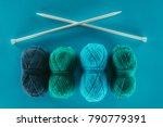 blue and green knitting yarn... | Shutterstock . vector #790779391
