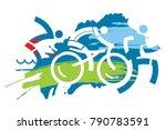 triathlon race grunge stylized.... | Shutterstock .eps vector #790783591