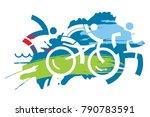 triathlon race grunge stylized.... | Shutterstock .eps vector #790783591