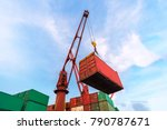 industrial crane loading... | Shutterstock . vector #790787671