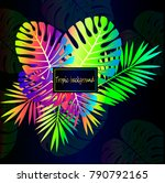 neon tropical leaves  close up... | Shutterstock .eps vector #790792165