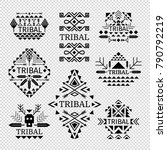 tribal logos set in black color ... | Shutterstock .eps vector #790792219
