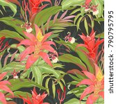 seamless tropical pattern with... | Shutterstock .eps vector #790795795
